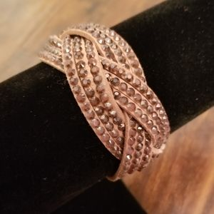 Tan Jeweled Snap Cuff Bracelet!